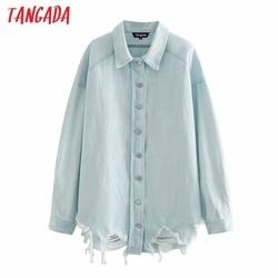 Tangada Women boyfriend denim jacket coats hole ripped 2020 autumn winter new female oversized long coat 4M212