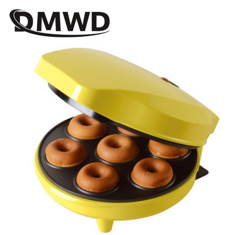 DMWD MINI Donut Making Machine Eggs Cake Baking Breakfast Waffle Electric Donut Maker Automatic Pancake Doughnut Makers EU Plug