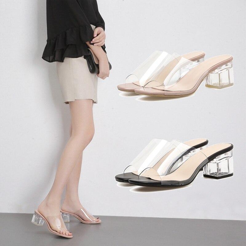 Купить с кэшбэком NIUFUNI Summer Peep Toe Gladiator Women's Sandals Slippers Leisure Crystal 5CM High Heels Slides Fashion Women's Slides Shoes