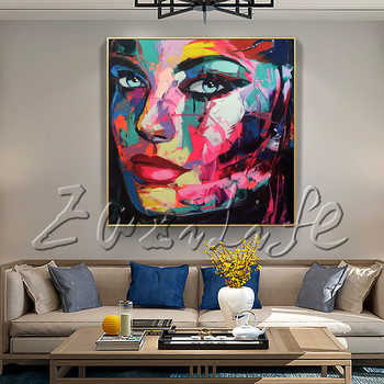 Portrait Face  Shaded Cool   Palette knife Oil painting christmas figure canva Hand painted Francoise Nielly wall Art picture