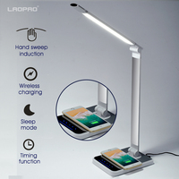 LED Desk Lamp 72 bulb 3 Color Hand Sweep Wireless Charging for phone 360 Degree Rotation Touch Eye protect with timer Table lamp