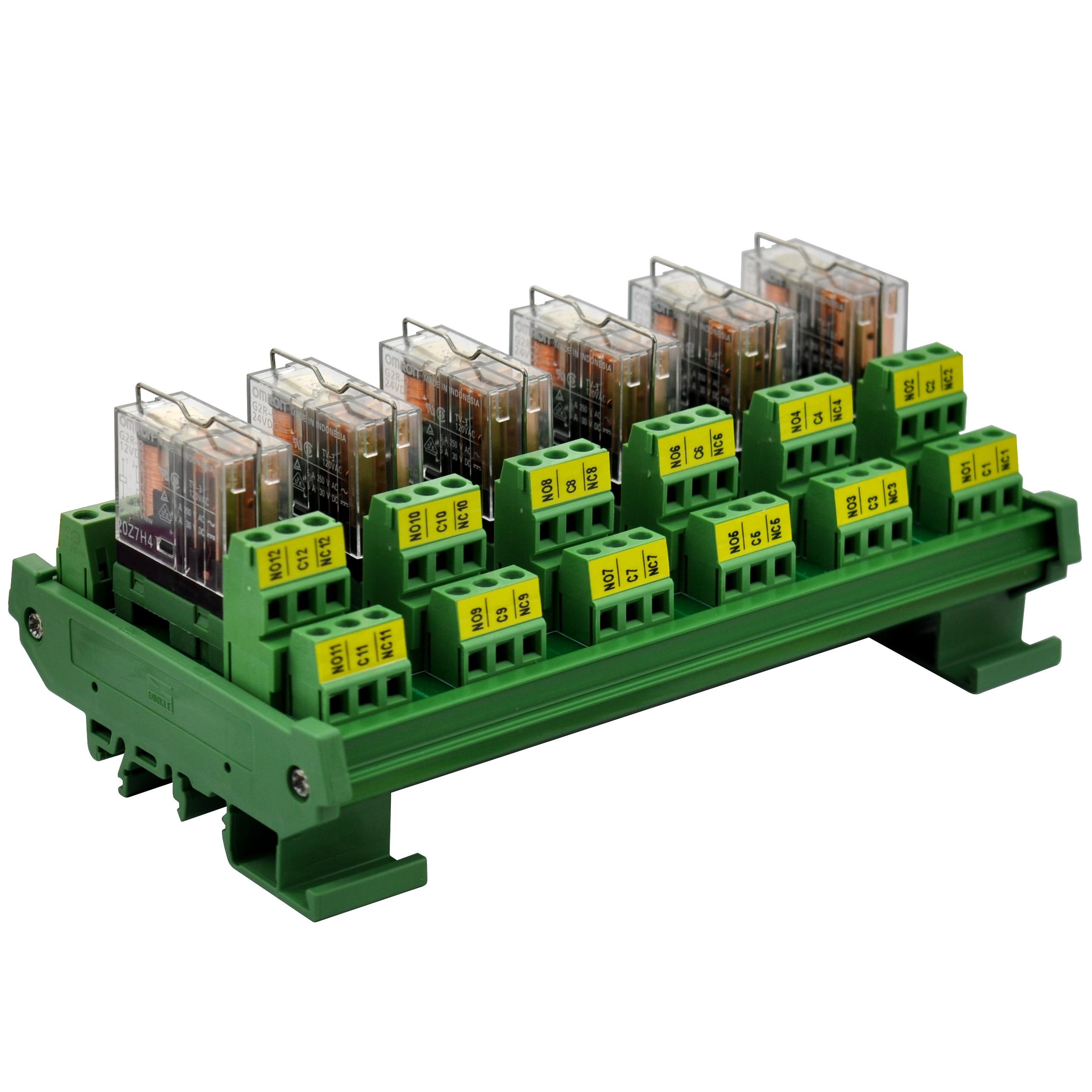 ELECTRONICS-SALON DIN Rail Mount AC/DC 12V Control 6 DPDT 5Amp Pluggable Power Relay Interface Module.