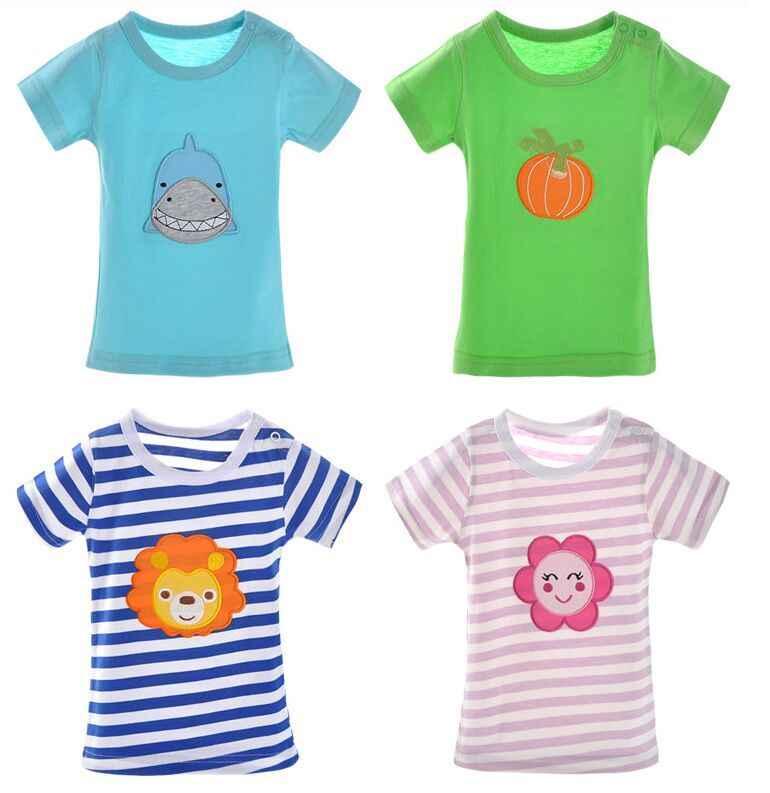 5 ชิ้น/ล็อต Cotton Cotton TOP Tees เสื้อยืดแขนสั้นเสื้อเด็กเสื้อผ้าเด็ก 4-24M
