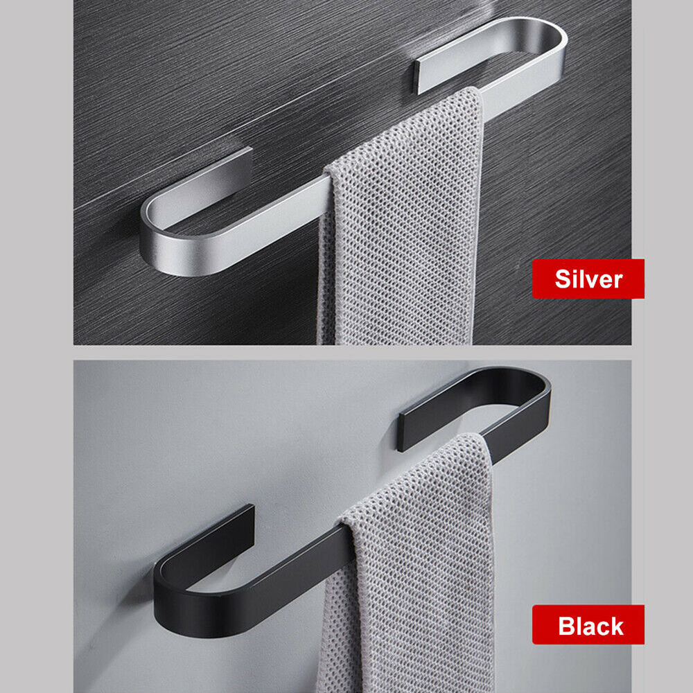 Towel Rail Rack Towel Holder Bathroom Towels Rack Hanger Black Silver 304 Stainless Steel Wall Hanging Towel Bar Storage Shelf