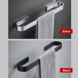 Suporte de toalha para banheiro, rack de toalhas, cabide preto, prata 304, aço inoxidável, prateleira de pendurar na parede
