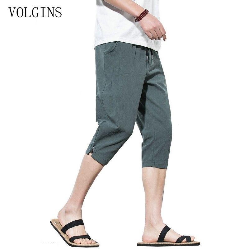 Streetwear Chinese Style Hip Hop Male Harem Pants Men Calf-Length Cotton Linen Bermuda Masculina Male Pants