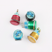 цена на 22mm Metal Button Switch Coated with Color Self-reset 1 Normally Open 1 Normally Closed 4-legged Waterproof Button