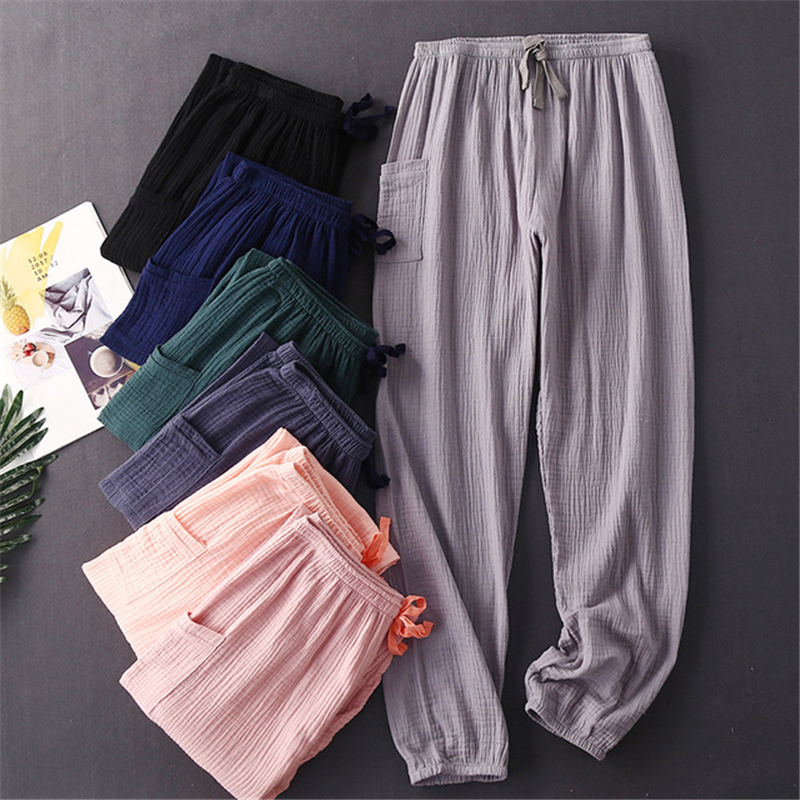 pants new women's cotton gauze closed leg trousers home pants sexy simple fashion trousers loose штаны домашние dark green