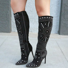 2019 ladies winter black pointed rivets decorative stiletto high heel knee high boots shoes zipper fashion sexy large size 4-16(China)