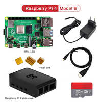 official raspberry pi 4 kit Raspberry Pi 4 Model B PI 4B 1GB/2GB/4GB : Board+Heat Sink+Power Adapter+Case +32/64GB SD+HDMI Cable