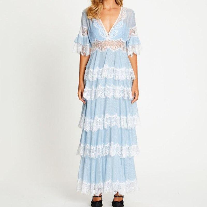 Azul branco longo casamento vestidos pista 2019 queda senhoras vestidos de renda elegantes