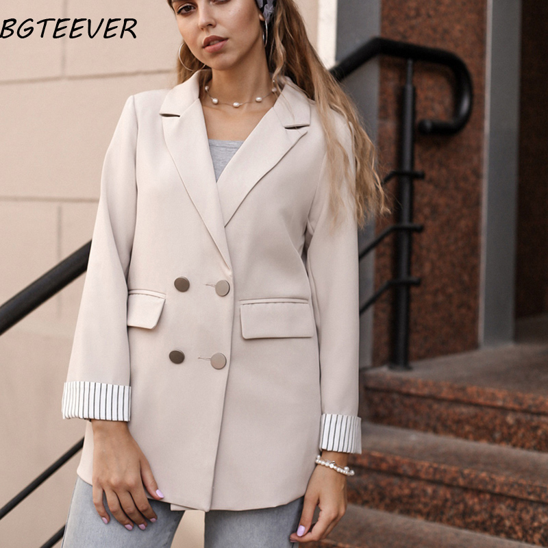 BGTEEVER Double Breasted Women Blazer Jackets Notched Collar  Slim Style Autumn Winter Female Outerwear Elegant Ladies Coat 2019