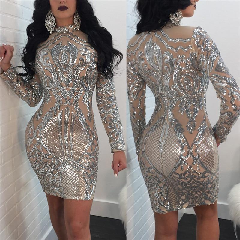 Женское платье с блестками и длинным рукавом, осенне зимнее серебряное блестящее облегающее платье, элегантные сексуальные вечерние платья для ночного клуба, знаменитостей women sequin dress sequin dressbodycon dress   АлиЭкспресс
