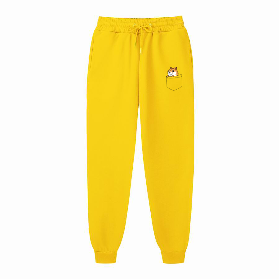 Fashions Autumn Pocket Cat Letter Joggers Pants Male Casual Sweatpants Bodybuilding Fitness Track Pants Men's Sweat Trousers