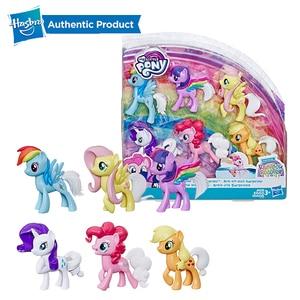 Hasbro-figuras de acción de My Little Pony, juguete sorpresa de cola de arcoíris, paquete de 6 figuras de Pony de abanico de 3 pulgadas, Twilight Pinkie Pie Rarity