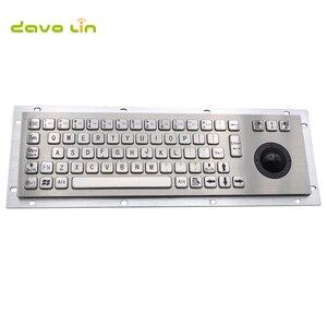 Водонепроницаемая IP65 Антивандальная Панель Крепление USB Проводная нержавеющая сталь промышленная металлическая клавиатура с трекболом мы...