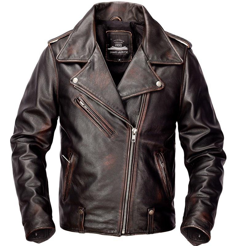 2020 Vintage Brown Men American Motorcycle Jacket Plus Size XXXXL Genuine Cowhide Slim Fit Biker's Leather Coat
