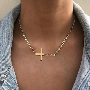 Handmade Personalized Name Necklace Cross Pendant Gold Color Cuban Chain Customized Nameplate Necklaces for Women Men Gifts