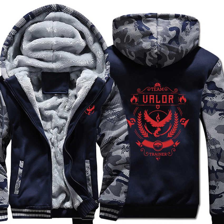 포켓몬 go hoodies 겨울 위장 슬리브 자켓 남성 양털 팀 용기 팀 신비한 팀 본능 스웨터