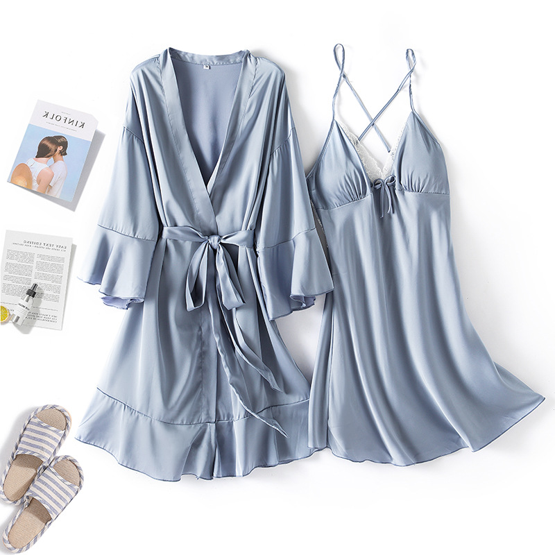 Image 4 - MECHCITIZ Sexy Womens Robe & Gown Sets Lace Bathrobe Night Dress 2 Pieces Sleepwear Womens Sleep Set Silk Robe Femme LingerieRobe & Gown Sets   -