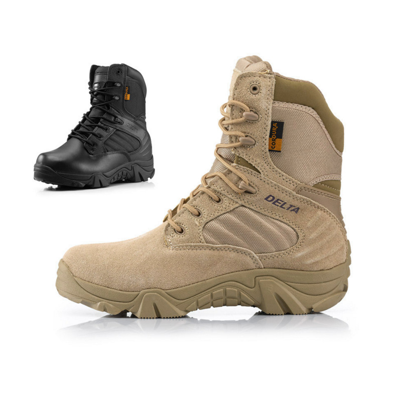 Jun Eagle Delta Combat Boots Desert Boots Anti-slip Stab-Resistant Wear-Resistant Hight-top MEN'S SHOES Ankle Support Breathable