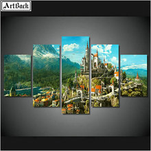 Diamond painting landscape full square / round drill big mountain castle diamond mosaic 3d sticker living room decoration 5pcs