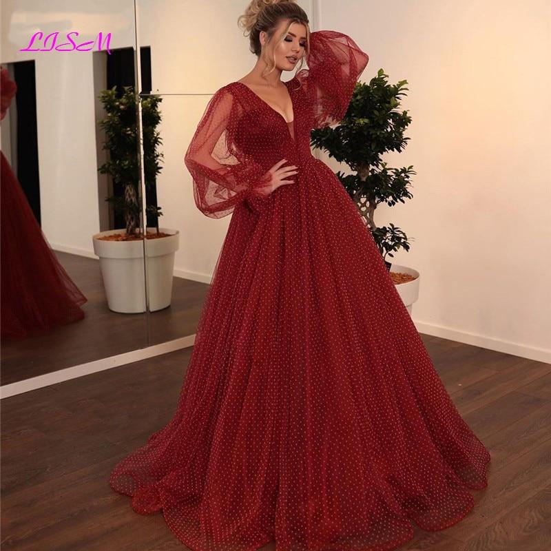 Burgundy A-Line Evening Dress Puffly Sleeves vestido de festa Dubai Saudi Arabic V-Neck Long Evening Gowns
