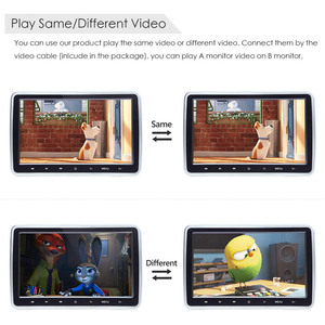 Image 4 - 2 PCS 10.1 Inch Car Headrest TV Monitor DVD Video 1024x600 screen Touch Button Game Remote Control HDMI IR AV FM USB Universal