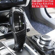 Carbon Fiber Style Gear Shift Handle Sleeve Button Cover Stickers For BMW F20 F30 f10 f32 F25 F32 F06 F26 X5 F15 X6 F16 Interior