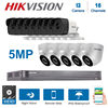 Hikvision אנגלית 16CH DS-7216HUHI-K2 DVR וידאו מעקב היברידי 13-חתיכה 5MP 4-in-1 ראיית לילה קיט