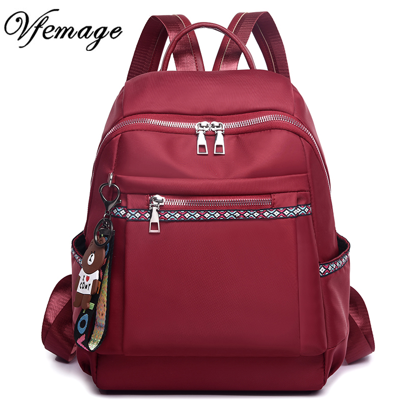 Vfemage New Fashion Women Backpack Oxford Bags Female Large Capacity School Bags For Girls Multifuction Bagpack 2019 Sac A Dos