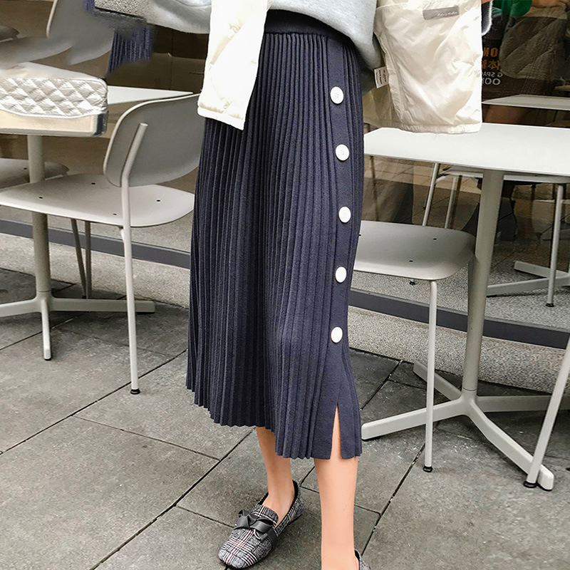 Autumn Winter Elastic High Waist Skirts Womens Faldas Mujer Moda 2019 Jupe Kintted Pleated Skirts Women Button Split Slim Skirts