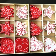10pcs Natural Wood Christmas Tree Decorations for Home Ornament New Year Wooden Hanging Pendants Gifts Snow Bell Craft