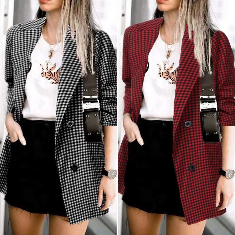 ZANZEA 2020 Fashion Office Lady Blazers Women Plaid Blazer Long Sleeve Pockets Blazer Feminino Lapel Buttons Chaqueta Mujer 7