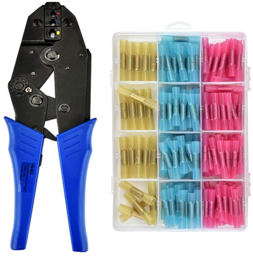 <font><b>HS</b></font>-<font><b>40J</b></font> Crimping Pliers 0.25-6mm2 Heat Shrink Butt Insulated Terminals Wire Connector 23-10AWG 230mm Stripper Multitools kits image