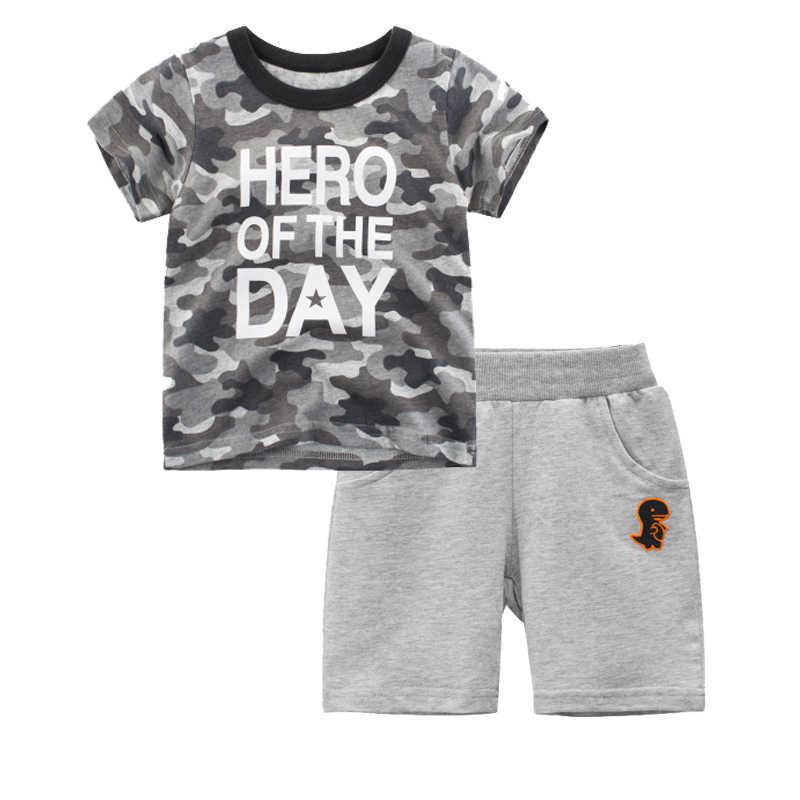 Kind Kleding Jongen Sport Pak Zomer Shark Dinosaurus Camouflage T-shirt Shorts Outfit Trainingspak Kids 2 3 4 5 6 8 Jaar