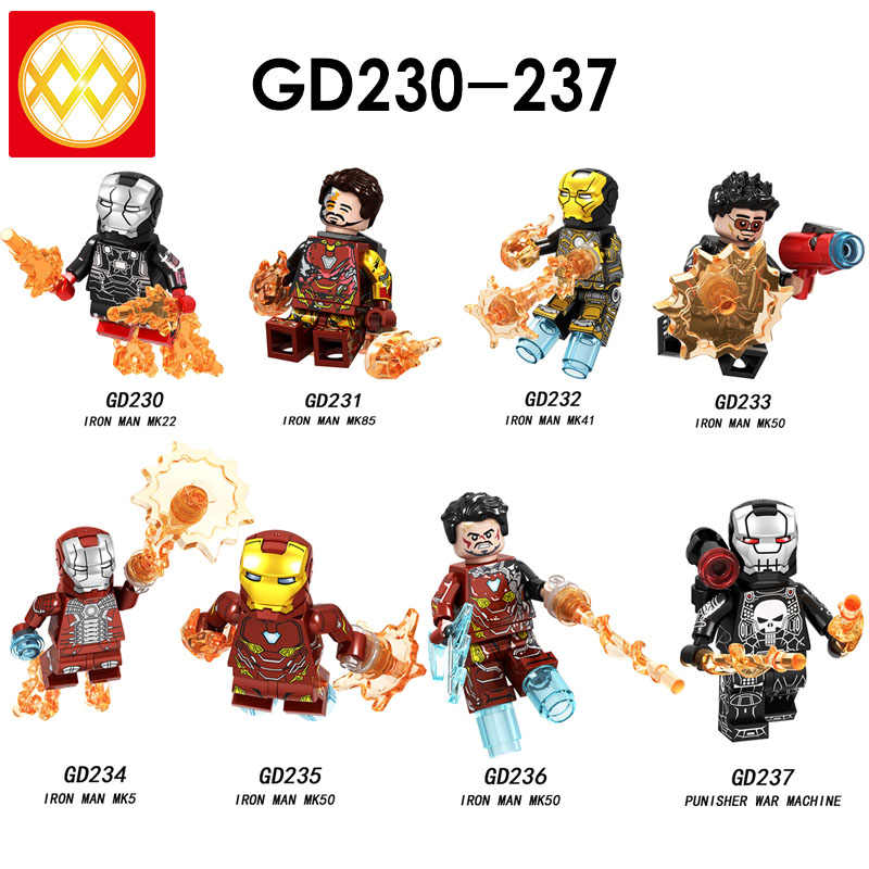 Free Shipping GD230-237 Iron Man Mark5 Mark50 Mark85 Mark41Punisher War Machine Avengers Super Heroes Building Blocks Kids Toys
