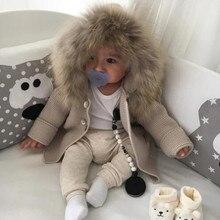 เด็กชายหญิงHoodedเสื้อกันหนาวถักHairyคอDouble Breastedหูการ์ตูนOuterwearสีกากีสีเทา6 24M