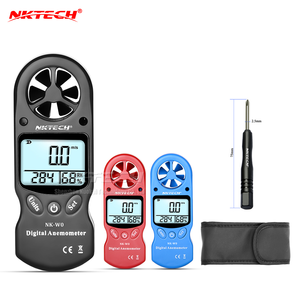NKTECH NK-W0 Digital Anemometer Mini Portable LCD Wind Speed Temperature Humidity Meter With Multipurpose Hygrometer Thermometer