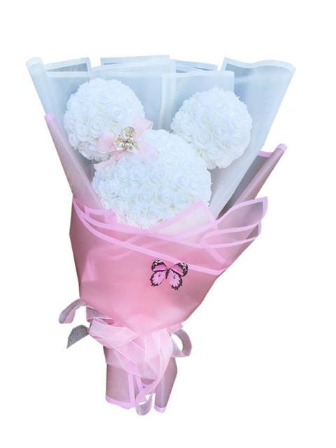 Rose Mickey Boeket Kunstmatige PE Handgemaakte Eeuwige Rose Bloem Beer Poppen Bruiloft Decoratie Valentijnsdag Gift