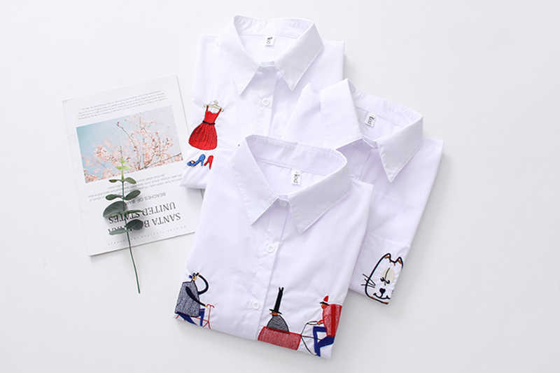 NEW White Shirt Casual Wear Button Up Turn Down Collar Tops Long Sleeve  Iron Tower Caffey Cat Trolley Blouses Shirts Embroidery