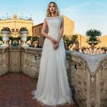 رائع تول س الرقبة فستان الزفاف مع زر الدانتيل يزين الزهور اليدوية ثوب الزفاف Vestido De Noiva مخصص