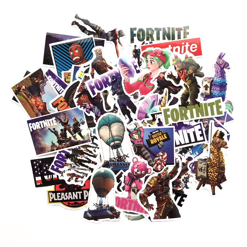 12/38/40/50pcs/Pack Waterproof Cartoon Fortnite Stickers Skateboard Suitcase Guitar Luggage Laptop Stickers Kid Classic Toy