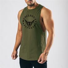 Siłownia mężczyźni Fitness trening podkoszulki kamizelka uwidaczniająca mięśnie mężczyźni bezrękawnik do kulturystyki bawełna sportowa koszulka bez rękawów letnia marka odzież sportowa tanie tanio GYM WARRIORS CN (pochodzenie) Suknem Drukuj COTTON O-neck