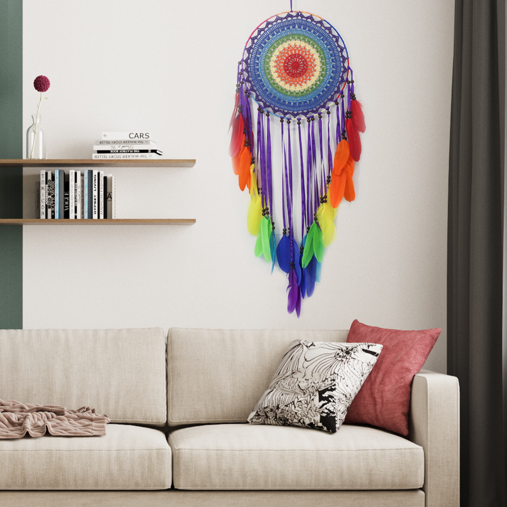 Hot Newborn Baby Photography Props Home Wall Hanging Colorful Feather Dream Catcher Children Girl Room Decor Baby Birthday Gifts