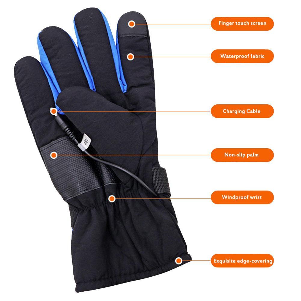Перчатки с перезаряжаемым подогревом, лыжные зимние теплые перчатки с литиевым аккумулятором для самостоятельного нагрева, перчатки с под...