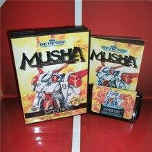 MD 게임 카드 Sega Megadrive Genesis 비디오 게임 콘솔 용 박스 및 설명서가있는 MUSHA US 커버 16 비트 MD 카드
