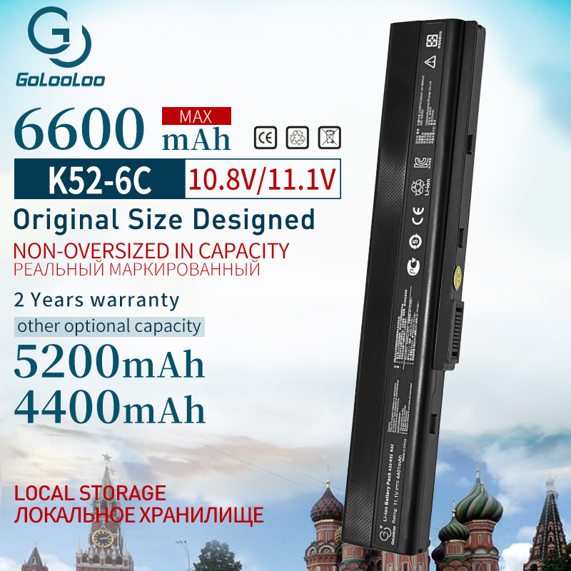 6600mAh Laptop Battery For Asus A32-K52 K52 K52J K52DR K62 K62F K62J K62JR N82 K52JC K52JE K52JK K52JR K52N K52D K52DE K52F
