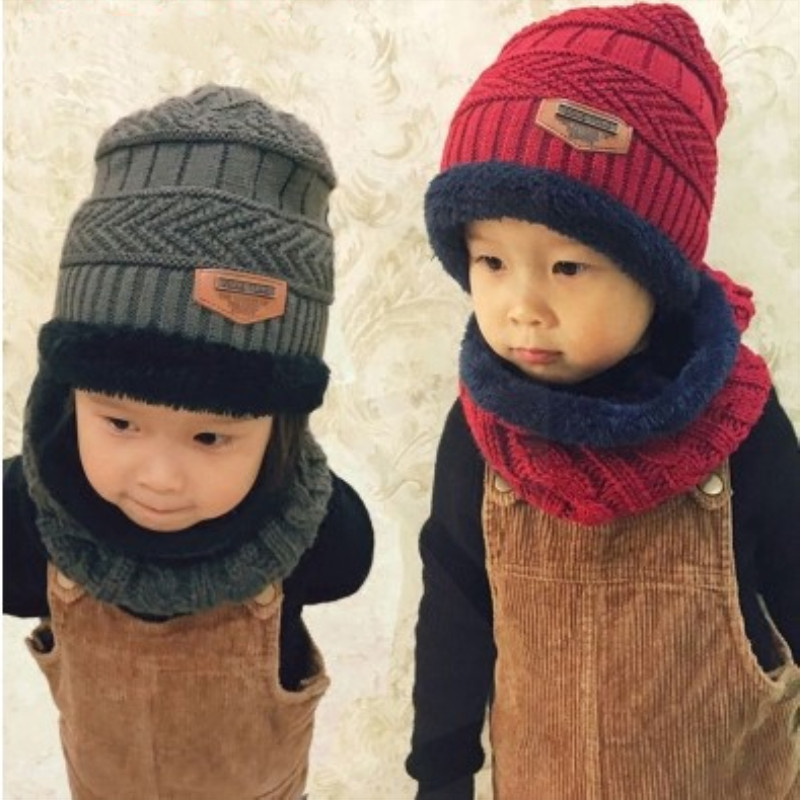 New Winter Scarf Hat Set For Boys Girls Cute Fashion Kids Hat Cotton Knitted Beanies Neck Collar Set Outdoors Warm Scarf Hat