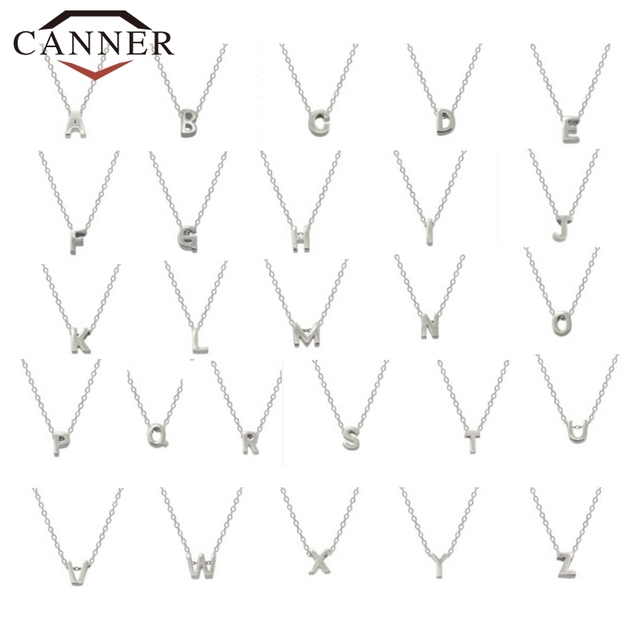 CANNER Real 925 Sterling Silver 26 Letter Round Choker Necklace For Women European and American Minimalist Fine Jewelry 3